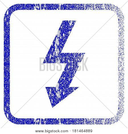High Voltage textured icon for overlay watermark stamps. Blue vectorized texture. Flat vector symbol with scratched design inside rounded square frame. Framed blue rubber seal stamp imitation.