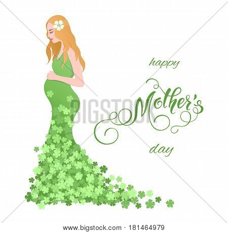 Beautiful pregnant women in flowery dress. Mothers Day greeting card with lettering. Spring holidays. Vector illustration EPS10.