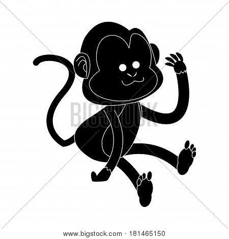 happy playful monkey cartoon icon image vector illustration design  black and white