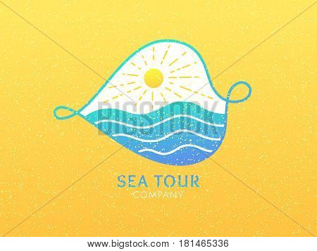 Travel company logo. Vector icon sea waves, sun. Sign on abstract leave on yellow background. Color emblem for design of business, holiday, travel agency, ecology concept, health, spa and yoga Center.
