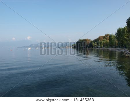 Evening on the shore of the lake Garda in Italy