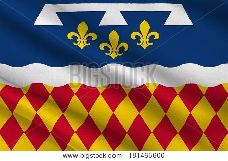 Flag of Charente is a department in southwestern France in the Nouvelle-Aquitaine region. 3d illustration