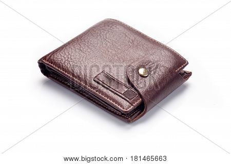 Brown wallet for man isolated on white bacground