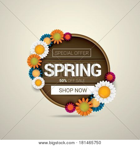 vector spring sale banner design template. Spring sale pink label or background with beautiful flowers, wooden sign and text. Vector spring frame