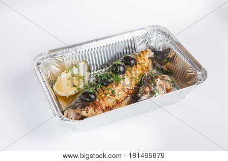Grilled Fish. Healthy Food Delivery. Take Away Of Natural Fitness Dishes For Diet. Daily Meals In Fo