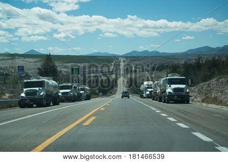 Oaxaca, Mexico, circa february 2017: Mountain road in Oaxaca nature area, Mexico