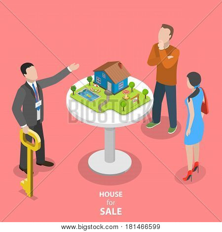 House for sale isometric flat vector concept. The real estate agent trying to sell the house to the couple.