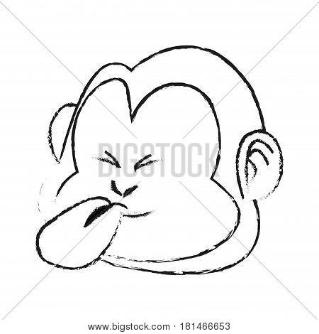 tongue out monkey cartoon icon image vector illustration design  black sketch line