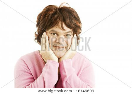 Portrait of a cross dressing female celebrity impersonator.  Isolated on white.