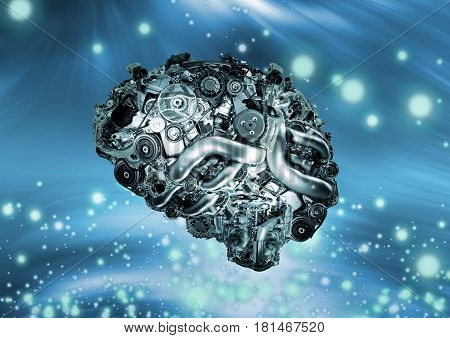 Mechanical structure similar to human brain on science and technology background
