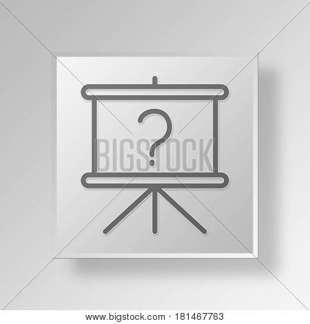 3D Symbol Gray Square About Event icon Business Concept