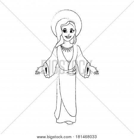 holy mary icon image vector illustration design  black sketch line