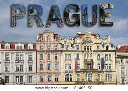 Assorted images from around Prague in text collage over old town square background