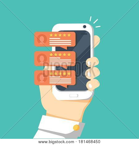 Review rating bubble speeches on mobile phone vector illustration, flat style smartphone reviews stars with good and bad rate and text, concept of testimonials messages, notifications, feedback