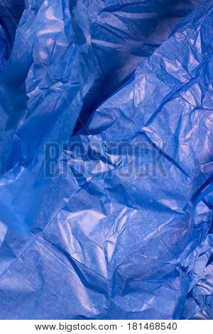 This is a closeup photograph of Blue Tissue paper