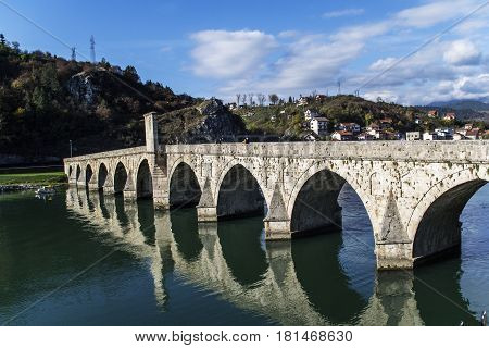 Old Bridge Over River Drina In Bosnia and Herzegovina