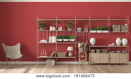 Eco red interior design with wooden bookshelf diy vertical garden storage shelving living lounge relax area with armchair, 3d illustration