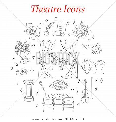 Vector set of theater icons with theatrical curtains, comedy and tragedy masks, Greece column, chandelier, violin, seats, tuxedo, evening dress, isolated on white background, hand drawn, doodle.