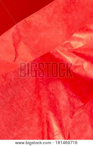 This is a closeup photograph of Red Tissue paper