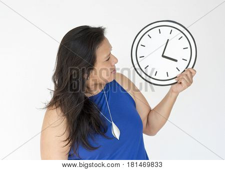 Woman Hold Punctual Clock Time Paper Craft