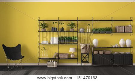 Eco yellow interior design with wooden bookshelf diy vertical garden storage shelving living lounge relax area with armchair, 3d illustration