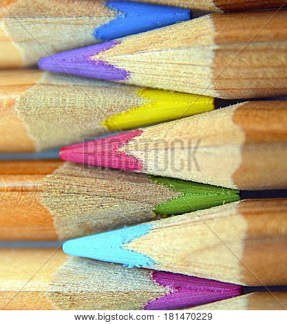 Colored pencils background.Colored drawing pencils in a variety of colors.Selective focus.