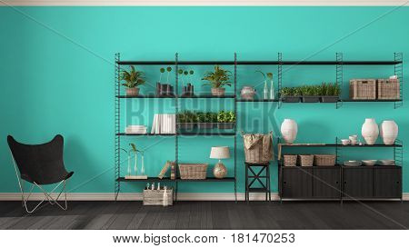 Eco turquoise interior design with wooden bookshelf diy vertical garden storage shelving living lounge relax area with armchair, 3d illustration