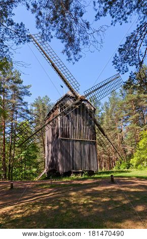 RIGA LATVIA - JUNE 13 2016: Pole windmill (circa 1814) of Bendzoles farmstead of Russian ethnic group. Exhibited in Ethnographic Open-Air Museum of Latvia since 1935