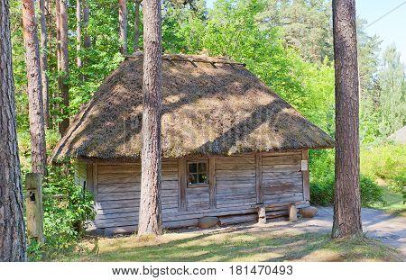 RIGA LATVIA - JUNE 13 2016: Bathhouse (circa 1862) of Spireni farmstead of Kurzeme ethnic group. Exhibited in Ethnographic Open-Air Museum of Latvia since 1945