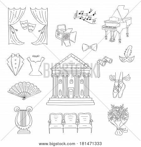 Vector set of theater icons with theater building, curtains, theatrical binoculars, lyre, ballet shoes, grand piano, seats, spotlight, isolated on white background, hand drawn, doodle