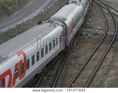 Moscow, Russia - March, 23, 2017: Train drives on a railway in Moscow