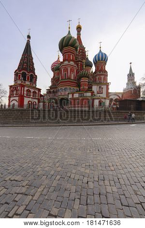 Moscow, Russia - March, 26, 2017: Pokrovsky cathedral on Red Square in Moscow