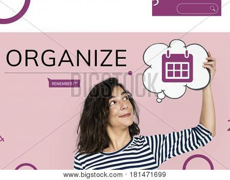 Woman with illustration of personal organizer reminder calendar