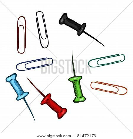 Vector Set Of Cartoon Paper Clips And Drawing Pins