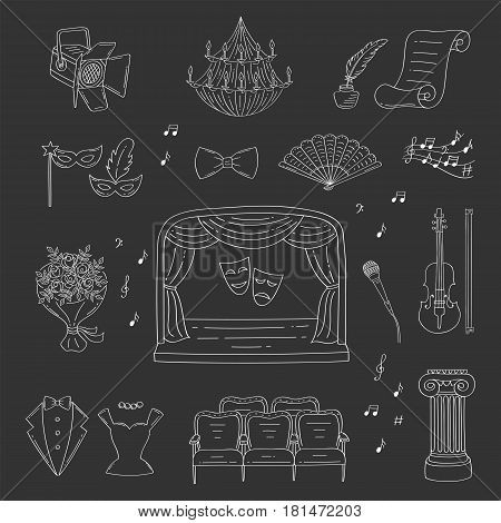Vector set of theater icons with theatrical stage, comedy and tragedy masks, curtains , seats, violin , spotlight, tuxedo, evening dress, isolated on black background, hand drawn, doodle