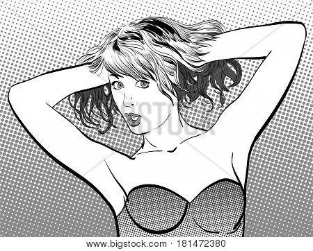 A young woman. Cute woman with hands up. Woman portrait. Feelings. Concept idea of advertisement and promo. Pop art illustration. Halftone background