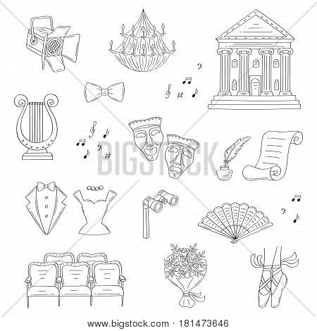 Vector set of theater icons with theater building, theatrical masks, binoculars, lyre, ballet shoes, seats, spotlight, isolated on white background, hand drawn, doodle