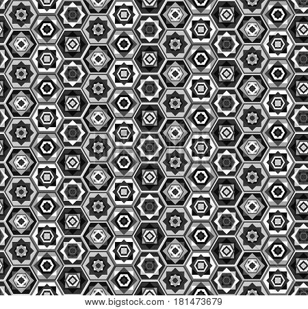Gray And White Hexagons Pattern