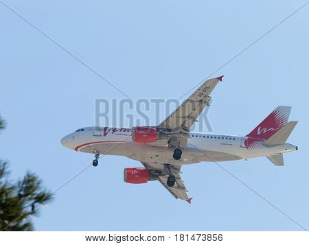 Sochi - April 3 2017: Passenger airbus A319011 Vim airlines Russia makes a landing at Sochi airport April 3 2017 Sochi Krasnodar Territory Russia