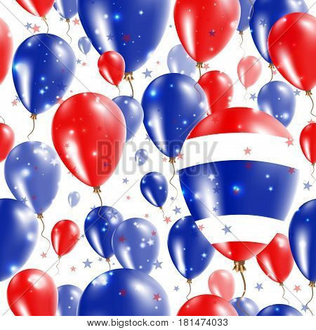 Thailand Independence Day Seamless Pattern. Flying Rubber Balloons In Colors Of The Thai Flag. Happy