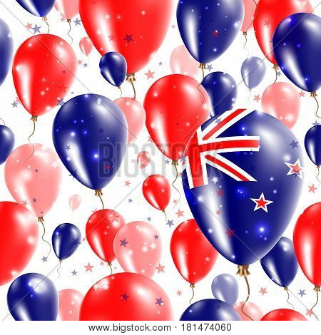 New Zealand Independence Day Seamless Pattern. Flying Rubber Balloons In Colors Of The New Zealander