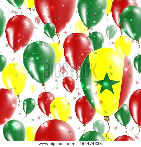 Senegal Independence Day Seamless Pattern. Flying Rubber Balloons In Colors Of The Senegalese Flag.