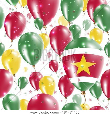 Suriname Independence Day Seamless Pattern. Flying Rubber Balloons In Colors Of The Surinamer Flag.