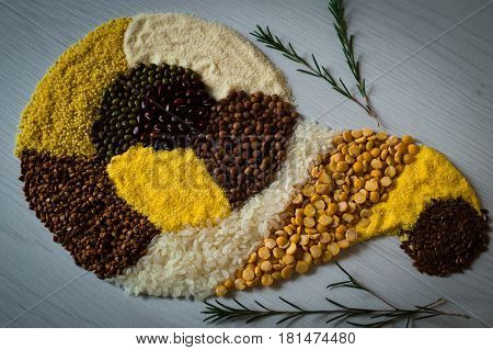 Buckwheat grain, rice, corn, pea, semolina and lentil on a white wooden background in form of horn of plenty.