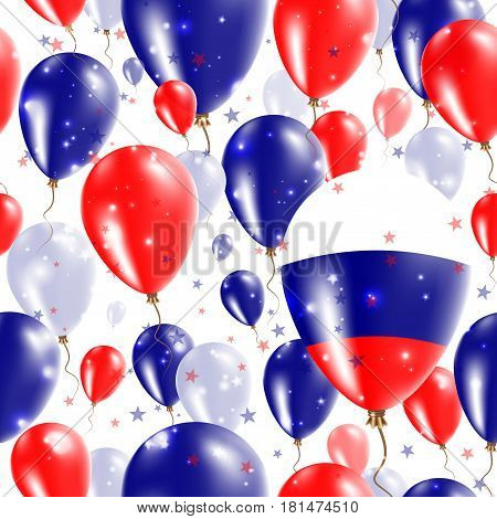 Russia Independence Day Seamless Pattern. Flying Rubber Balloons In Colors Of The Russian Flag. Happ
