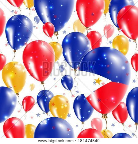 Philippines Independence Day Seamless Pattern. Flying Rubber Balloons In Colors Of The Filipino Flag