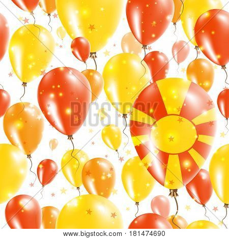 Macedonia Independence Day Seamless Pattern. Flying Rubber Balloons In Colors Of The Macedonian Flag