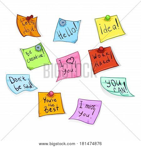 Vector Set Of Cartoon Office Stickers With Motivation Phrases