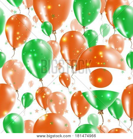 Niger Independence Day Seamless Pattern. Flying Rubber Balloons In Colors Of The Nigerian Flag. Happ