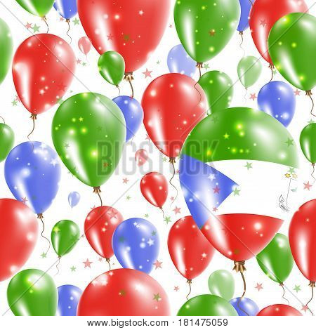 Equatorial Guinea Independence Day Seamless Pattern. Flying Rubber Balloons In Colors Of The Equator